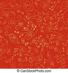 Chinese seamless pattern of red color with a golden ornament.