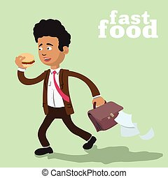 man and a fast food