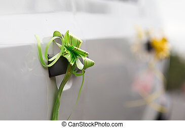Wedding decoration on car