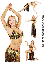 Belly-dance - Collage with four shots of beautiful blonde...