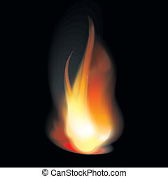 Flame tongues - Bright flame tongues with smoke Transparent...