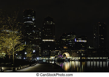 Rowes Wharf pre-dawn from Fan Pier - Early morning view of...