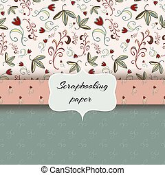 floral scrap booking paper - Set of scrap booking papers,...