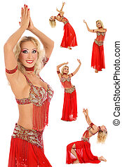 Belly-dance - Collage with five shots of beautiful blonde...