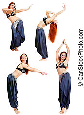 Belly-dance - Collage with four shots of beautiful redhead...