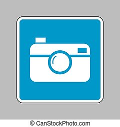 Digital photo camera sign. White icon on blue sign as...