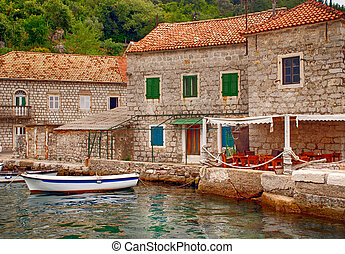 Old mediterranean houses and pier(Montenegro) - Old...