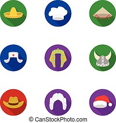 Hats set icons in flat style. Big collection of hats vector symbol stock illustration