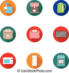 Household appliances set icons in flat style. Big collection of household appliances vector symbol stock illustration