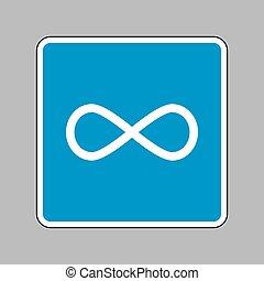 Limitless symbol illustration. White icon on blue sign as backgr