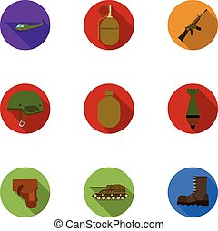 Military and army set icons in flat style. Big collection of...