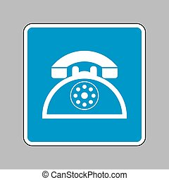 Retro telephone sign. White icon on blue sign as background.
