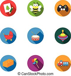 Toys set icons in flat style. Big collection of toys vector symbol stock illustration