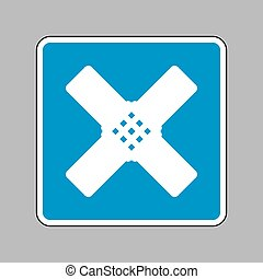 Aid sticker sign. White icon on blue sign as background.