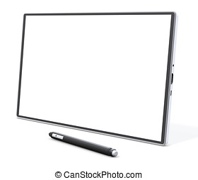 blank generic tablet pc with pen