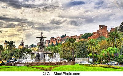 Tres Gracias Fountain and Alcazaba Castle in Malaga -...