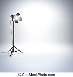 White empty photo studio with professional flashlight.