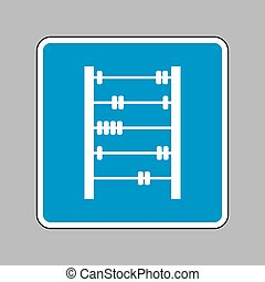 Retro abacus sign. White icon on blue sign as background.