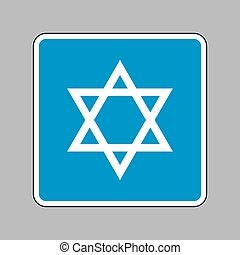 Shield Magen David Star. Symbol of Israel. White icon on...