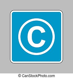 Copyright sign illustration. White icon on blue sign as backgrou
