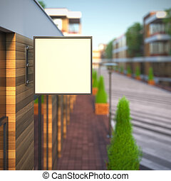 Mockup of blank template layout square signboard. 3d render...