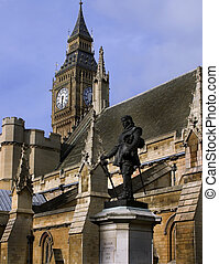Big Ben and Oliver Cromwell Monume - taken in June 2010 in...