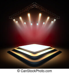 Empty stage illuminated by spotlights.