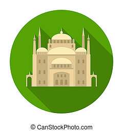 Cairo Citadel icon in flat style isolated on white...