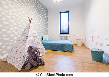 Children room with tipi tent - Children room with blue bed...