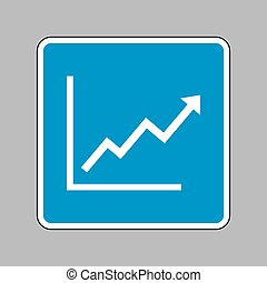 Growing bars graphic sign. White icon on blue sign as...