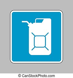 Jerrycan oil sign. Jerry can oil sign. White icon on blue...