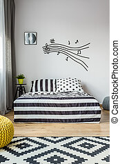 Music note stave in scandi bedroom - Music note stave on the...