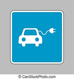 Eco electric car sign. White icon on blue sign as...