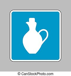 Amphora sign illustration. White icon on blue sign as...