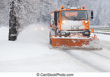 snowplow and snow calamity - Traffic jam in the middle of...