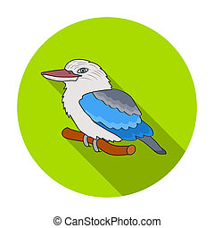 Kookaburra sitting on branch icon in flat style isolated on...
