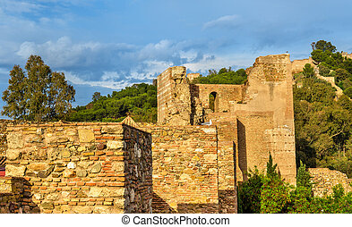 Stone walls and towers of the Alcazaba Fortress in Malaga....
