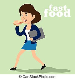 lady and a fast food - lady with a briefcase on the run...
