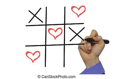 Happy Valentines day TIC-TAC-toe by xoxo,Hand holding marker...
