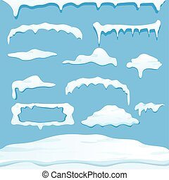 vector winter snow caps collection isolated on blue...