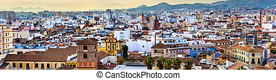 Panorama of Malaga from the Alcazaba, Andalusia, Spain -...