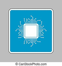 CPU Microprocessor illustration. White icon on blue sign as...