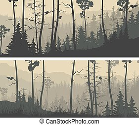 Horizontal wide banners of coniferous wood. - Set of...