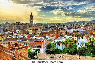 View of Malaga from the Alcazaba, Andalusia, Spain - Scenic...