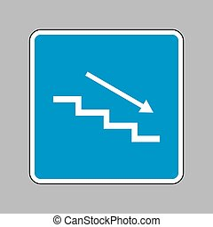 Stair down with arrow. White icon on blue sign as background.