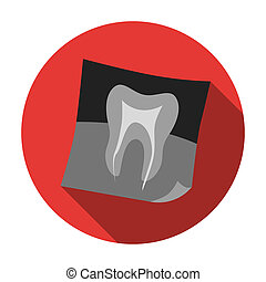 Dental x-ray icon in flat style isolated on white...