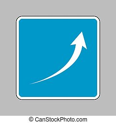 Growing arrow sign. White icon on blue sign as background.