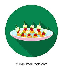 Canape on the plate icon in flat style isolated on white...