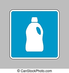 Plastic bottle for cleaning. White icon on blue sign as...