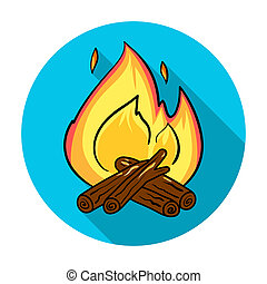 Campfire icon in flat style isolated on white background....